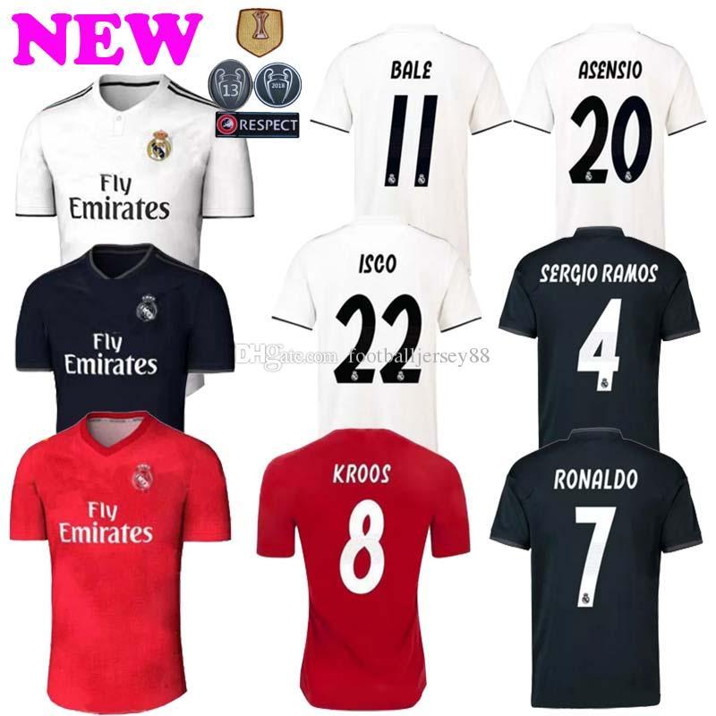 e0f58442f49 2018 19 Soccer Jersey Football Shirt Modric Kroos Bale Marcelo 18 19 ...