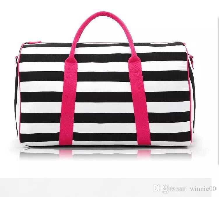 f74cf22beb Striped Pink Duffle Bag Womens Gym Sports Bag foldable Sport Duffel ...