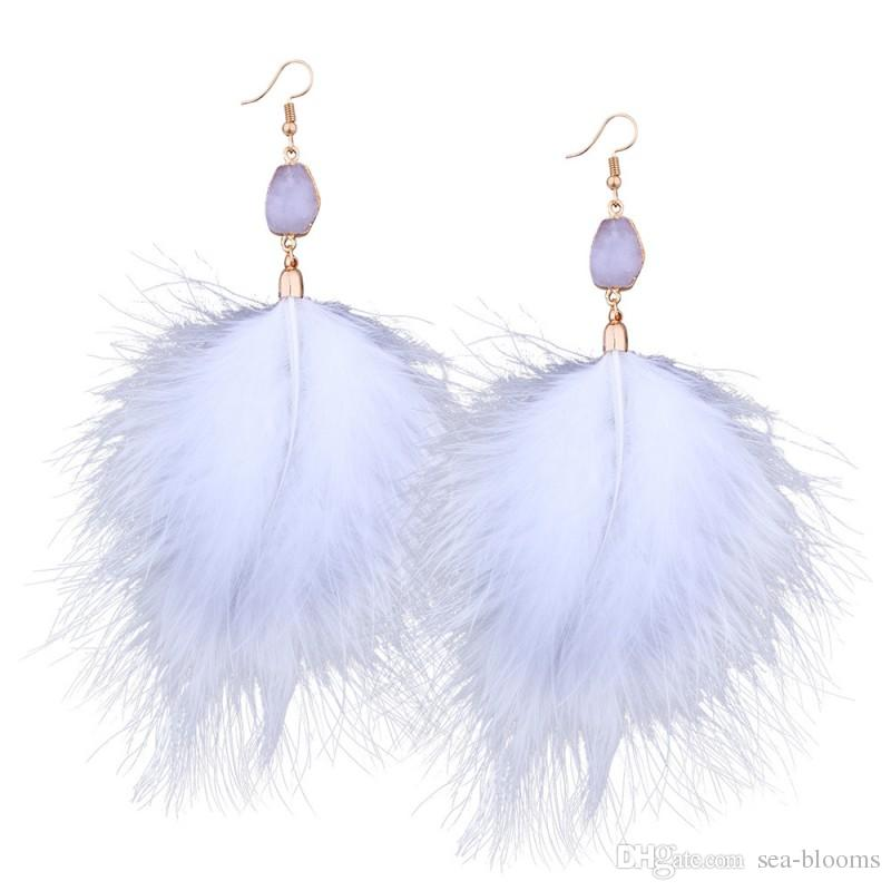 201803 New Long Drop Stone Beads Earrings Nappa lunga oro Piuma Orecchini le donne Gioielli da sposa Pom Pom Orecchini G346Q