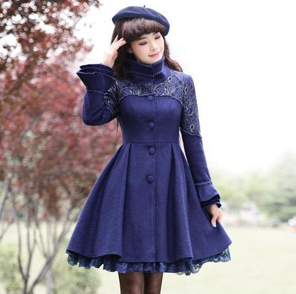 2c7015a611c94 Autumn And Winter Women s Plus Size Coat Fashion Lace Stitching ...