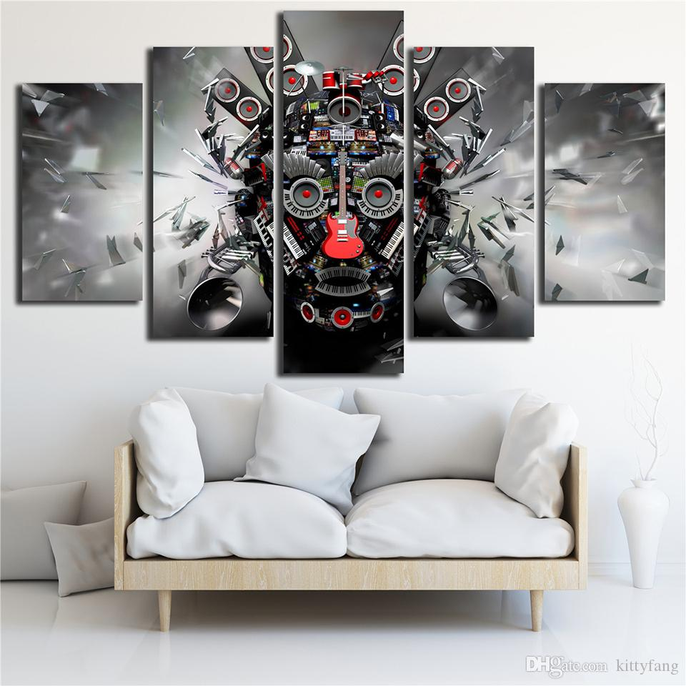 Canvas Printed Poster Rock Music Instruments DJ Console Guitar Art 5 Panel Wall Painting Home Decor Pop Art Pictures Modular