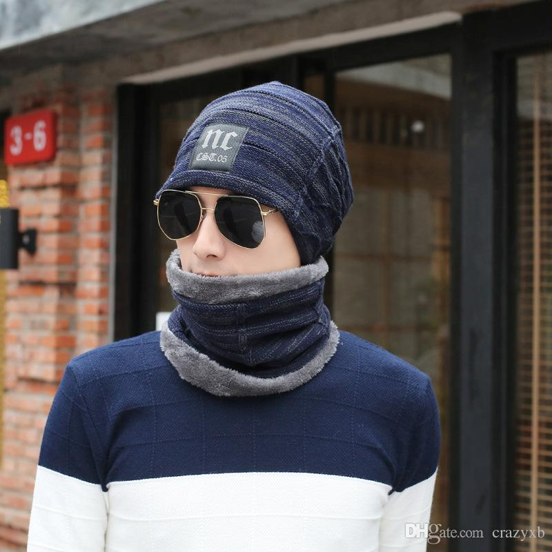 544138a20a86e 2018 Winter Knitted Hat Beanies Men Women Scarf Caps Mask Gorras Bonnet Warm  Baggy Winter Hats For Men Skullies Beanies Hats Fitted Caps Knit Hats From  ...