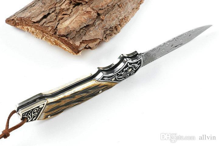 High End Folding Knife Damascus Steel Blade Horn + Copper Handle Lock Back EDC Pocket Folding Knives Leather Sheath