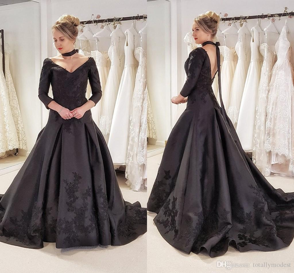 Discount 2018 Gothic Black Colorful Wedding Dresses With 34 Sleeves V Neck Vintage Satin Non White Bridal Gowns Custom Made Traditional Simple Lace: Non White Wedding Dress At Websimilar.org