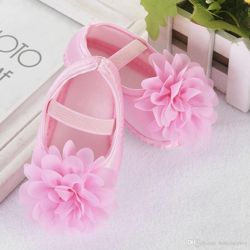 Children's Shoes Slippers Booties Toddler Kid Baby Girl Chiffon Big Flower Elastic Band Newborn Walking Shoes Footwear
