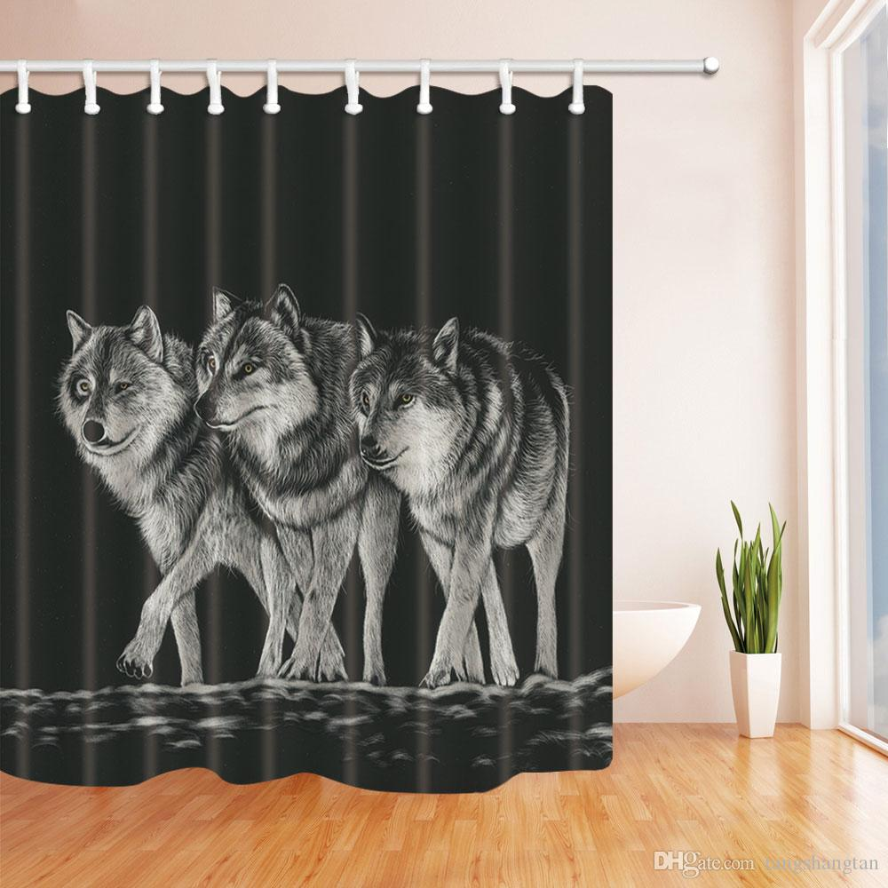 2019 Animal Theme Wolf Decor Black Shower Curtain 70x70 Inches Waterproof Mildew Resistant Polyester Fabric Curtains With Hooks From Tangshangtan