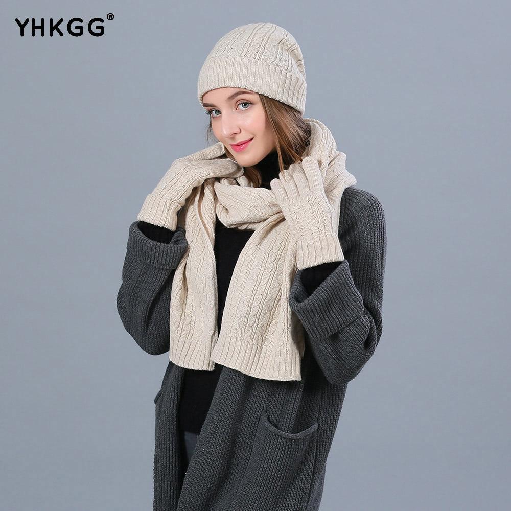 Compre YHKGG Moda Invierno Sombreros Bufanda Guantes Para Mujer Lana  Accesorios De Invierno Conjunto Femenina Beanie Bufanda Guantes 3 Unids    Set A  35.7 ... 27192e0f87d