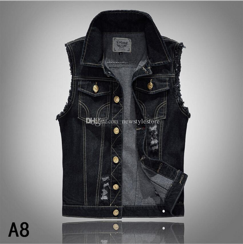 5464008afee 2018 Lapel Denim Vest Mens Distressed Denim Waistcoat Blue ...