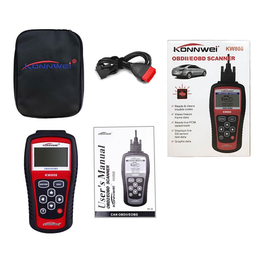 New Auto Diagnostic Tool Scanner OBD2 Code Reader KONNWEI KW808 Engine Reset EOBD MS509 Data Graphing
