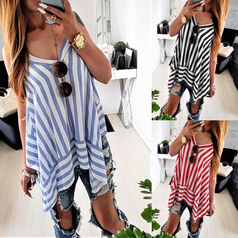 Tops & Tees Fashion Women Summer Vest Top Sleeveless T-shirts Striped Casual Loose Sleeveless Tops T-shirt