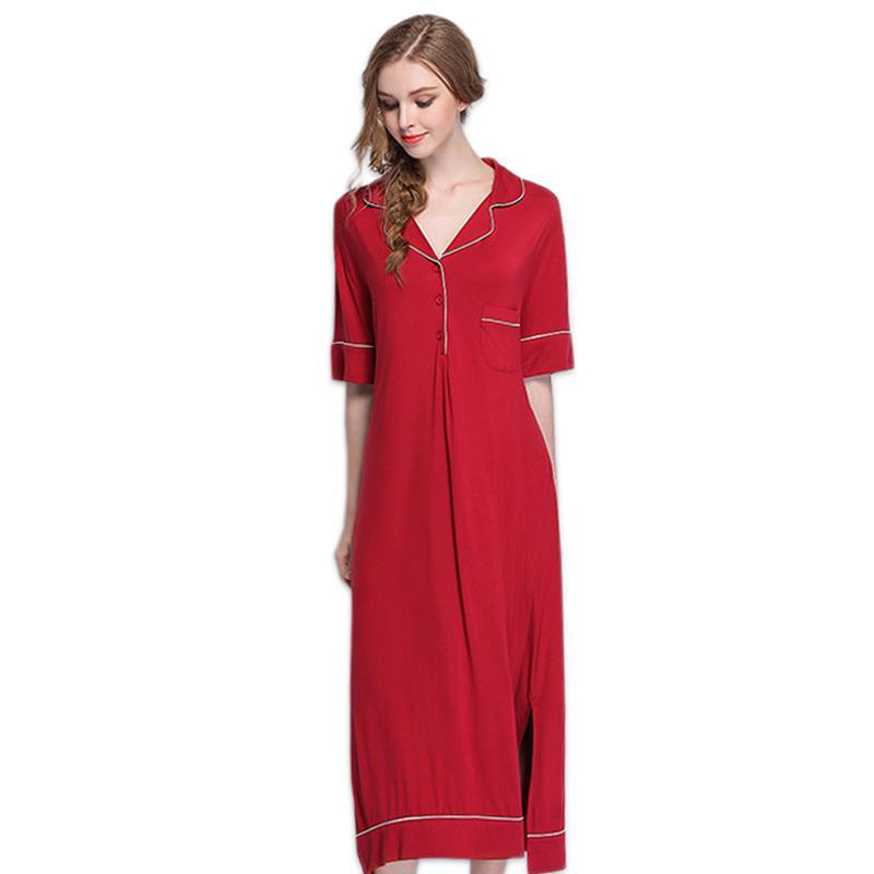 b5140c39f0 2019 Sexy Modal Red Long Night Gown Women Dresses Causal In Home Nightgown  Ladies Night Shirts Pyjamas Long Dress Women Elegant From Jellwaygood