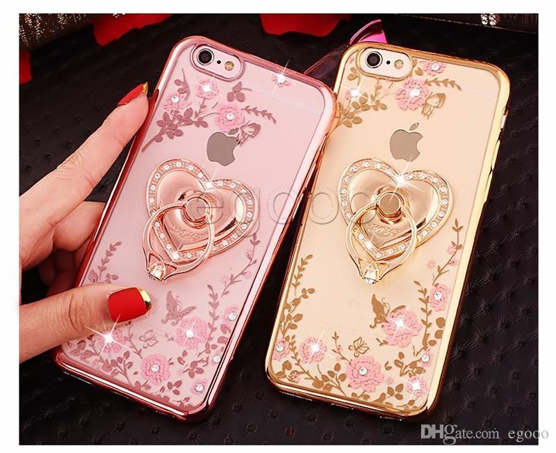 Bling Diamond Titulaire De La Bague Téléphone Cas Flexible Couverture Souple En TPU Avec Kickstand Pour iPhone XR Xs Max 8 7 6 S Plus Samsung S8 S9 Plus Note 8 9