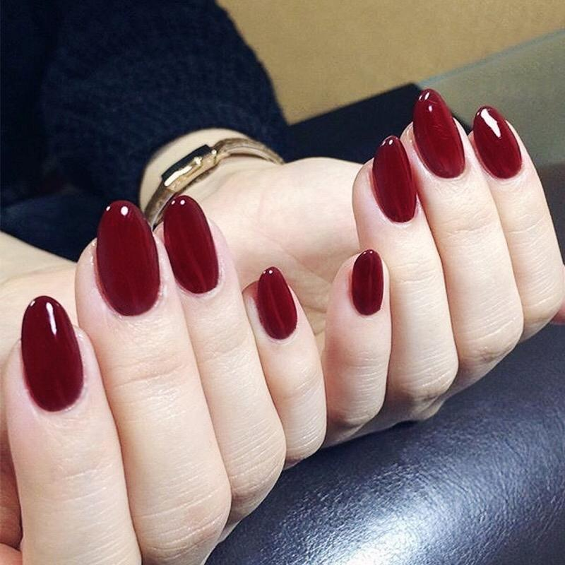 Sexy Wine Red Solid Color Series Finished False Nails Middle Long