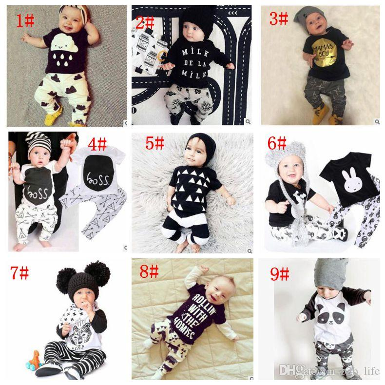Baby Clothes Ins Suits Boys Summer T Shirts Pants Letter Print Tops Trousers Girls Fashion Casual Shirts Pants Long Sleeve Outfits KKA2140