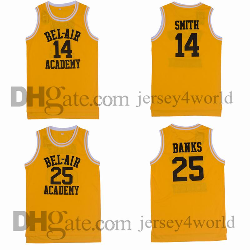 6cfe69b3390 2019 Bel Air Academy Retro 14 Will Smith Jersey 25 Carlton Banks 100%  Stitched Embroidery Yellow Basketball Jerseys Shirts From Jersey4world