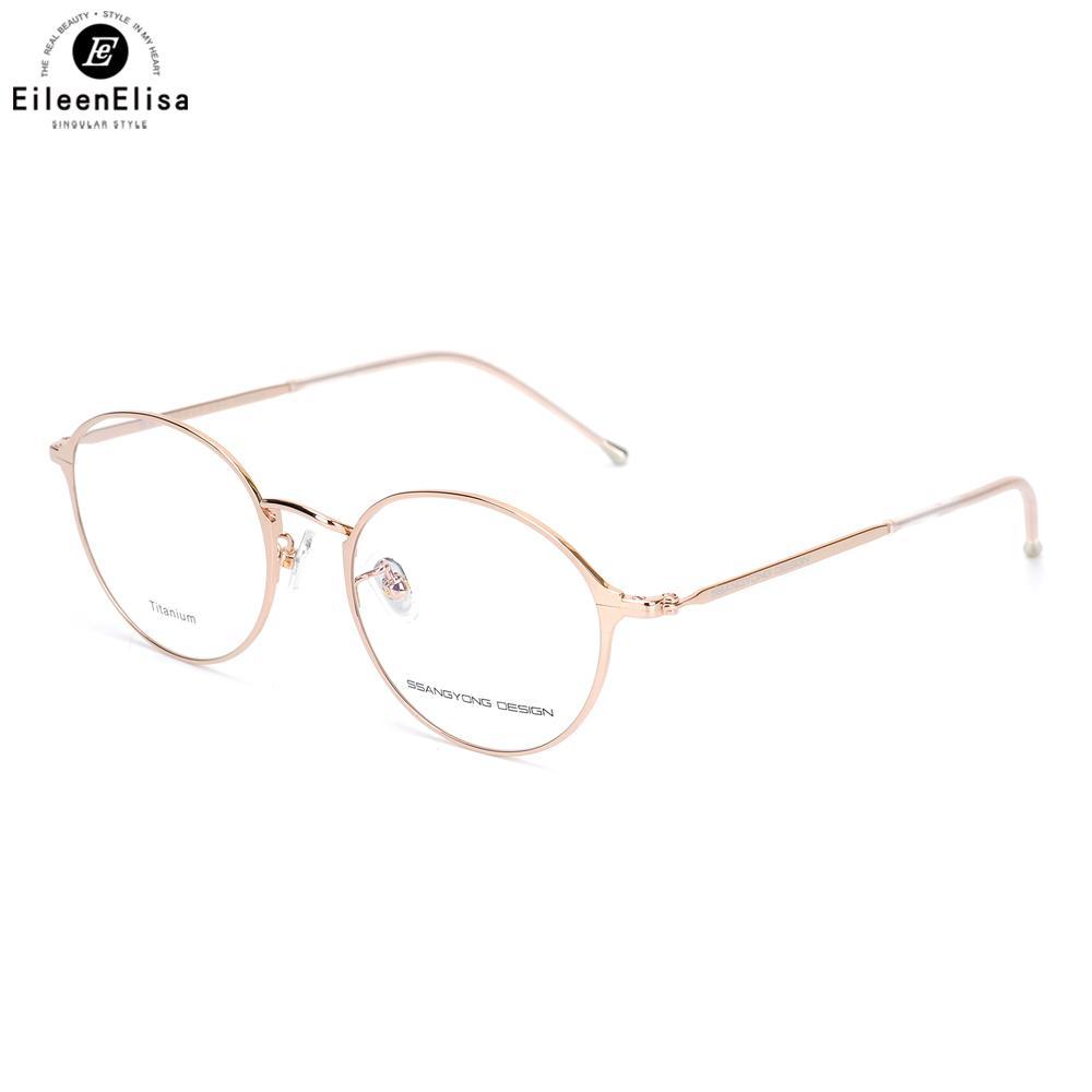 e8cc52ee455 2019 EE Women Titanium Eyewear Frames Round Frame Glasses Titanium Frame  Optical Glasses Oculos De Grau Clear Eyeglasses From Nectarine99