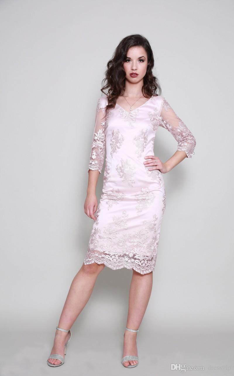 Pink Mother Of The Bride Dresses 3/4 Long Sleeve Lace Applique V Neck Mother Of Groom Dresses Plus Size Gowns For Mom