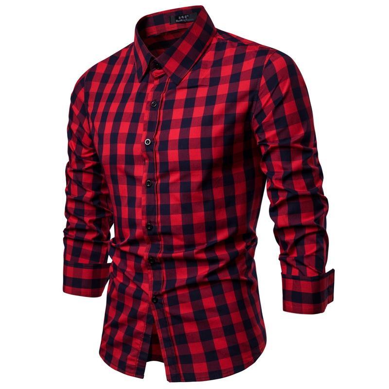 4ca0fc249 2019 Nueva impresión cuadrada a cuadros moda casual camisa de manga larga  hombres marca de ropa camisa suave Comfort Society vestido