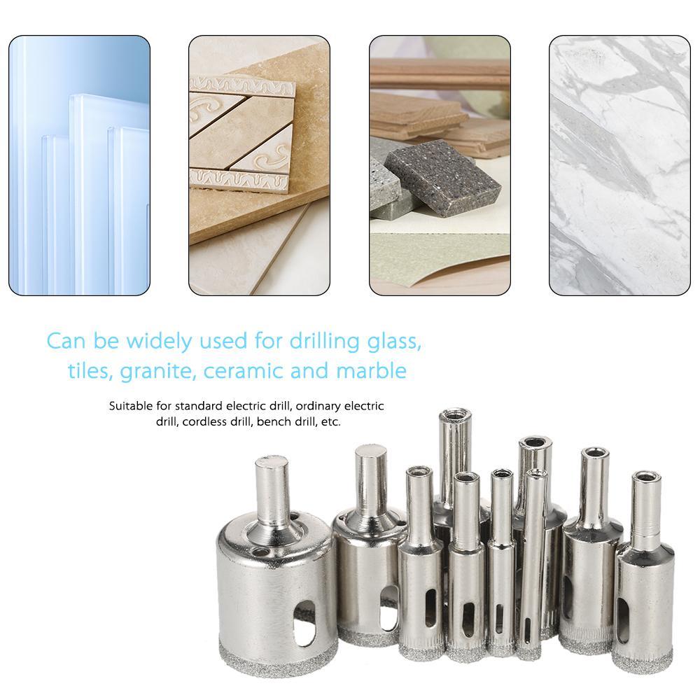 10PCS Glass Hole Saw Kit diamond Drill Bit for glass diamond core bit for tile Marble Ceramic Porcelain Drilling power tools