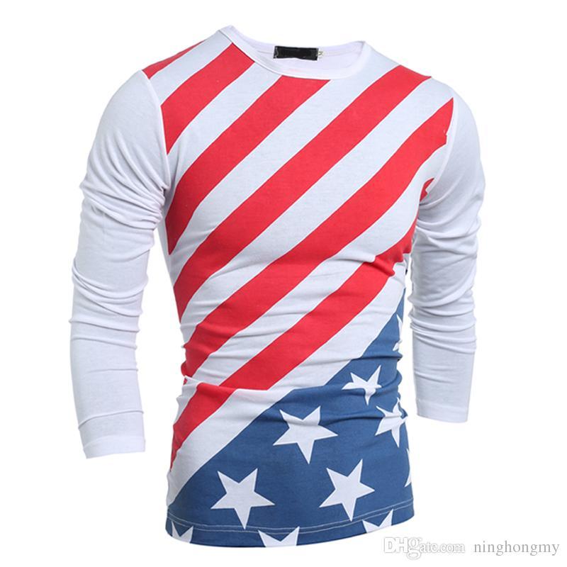 e73135378852 New American Flag T-shirt Men Sexy 3D Print O-Neck Tshirt Slim Fashion  Striped USA Flag Long Sleeve T Shirt Casual Tops Tees Free Shipping