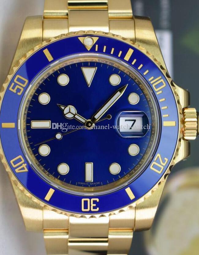 8a1161e9c54 Compre Relógio De Marca De Luxo 18kt Amarelo Ouro Azul Dial E Vidro Cerâmica  Safira 116618 Ásia 2813 Relógio Mecânico Automático Mens Watch Verão De  Chanel ...