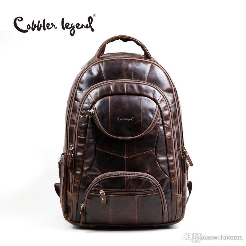 Wholesale Cobbler Legend Famous Brands 2016 Men Large Capacity Cow Leather  Backpack Big Size Travel Bags Backpacks Student School Bags    Tool  Backpack Best ... cac699014c217