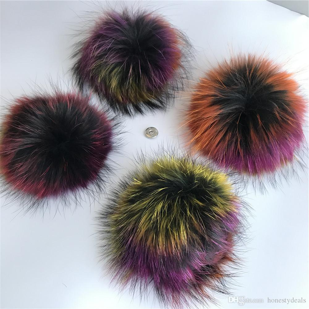 "1pc-15cm/6"" Multocolor-Large Real Raccoon Fur PomPom Ball For Hat Cap Coat Shoes Accessaries w Button"