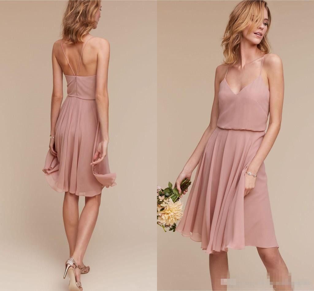 .Dark Navy Straps Spaghetti Short Bridesmaid Dresses 2017 Dusty Pink Knee Length A Line Chiffon Summer Beach Wedding Guest Dresses Cheap
