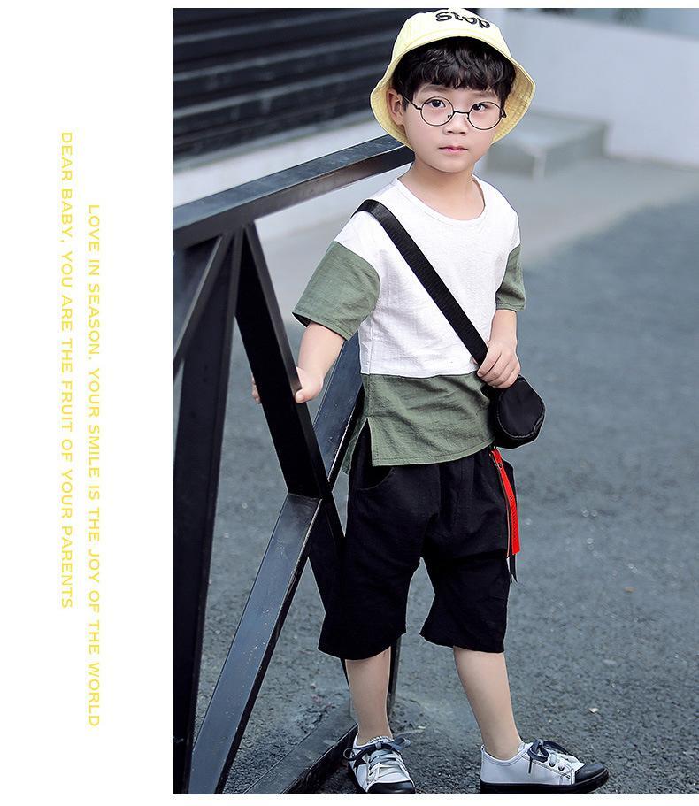 183c30e1 Children's Clothing Boy Summer Suit 2018 New Korean Baby Children Fashion  Cotton Two-piece Kids Suit Tide Clothes