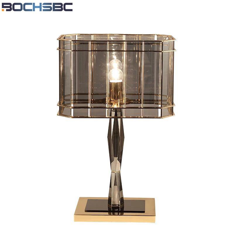 BOCHSBC American Simple Crystal Glass Table Lamp Nordic Creative  Personality LED Lights for Living Room Study Lamps Bedroom Lamp