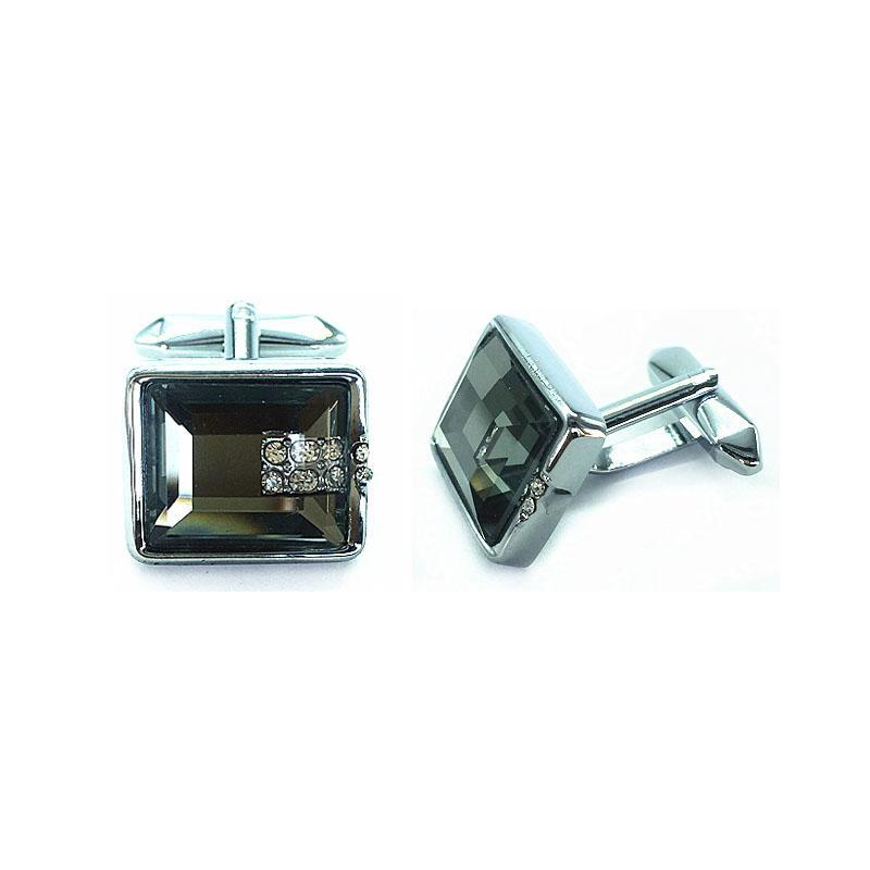 2018 nuevo cristal decorar brillante Mancuerna francesa metal plateado moda regalo del banquete de boda Gentelmen Gemelos hombres accesorios CC