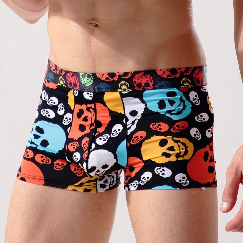 ada3dddc066c 2019 Halloween Mens Underwear Ice Silk Breathable Male Boxer Shorts Skull  Footprint U Convex Man Thin Seamless Cueca Underpants From Wuyasi, $34.5 |  DHgate.