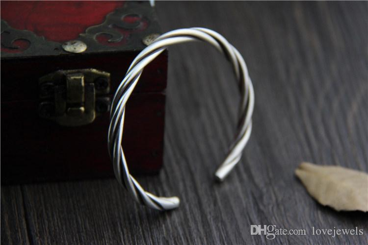 handmade vintage Thai silver 999 sterling silver bracelet retro woven twist bracelet for men and women snap jewelry china goods wholesale