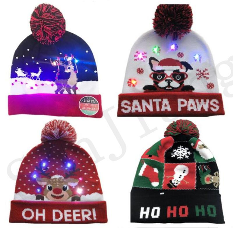 6cfd68eee9cc3f 2019 Christmas LED Light Knitted Hat Xmas Reindeer Elk Beanie Cap Fur Poms  Crochet Hats Santa Claus Snowman Skull Caps Festivals Luminous Hat Hot From  ...