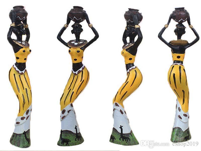 3 قطع ريترو الأفريقية سيدة مع زخرفة زهرية تمثال العرقية منحوتات الثقافة الوطنية تمثال ديكور المنزل فن الحرف الهدايا