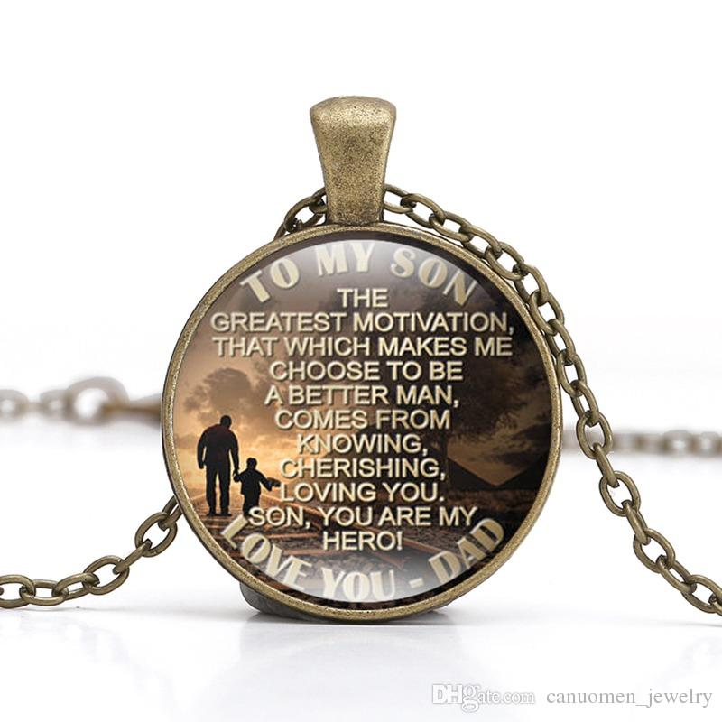 Wholesale To My Son Quote Silver Pendant Necklace Gift From Mom And Dad Birthday Gifts Love Jewelry Single Diamond