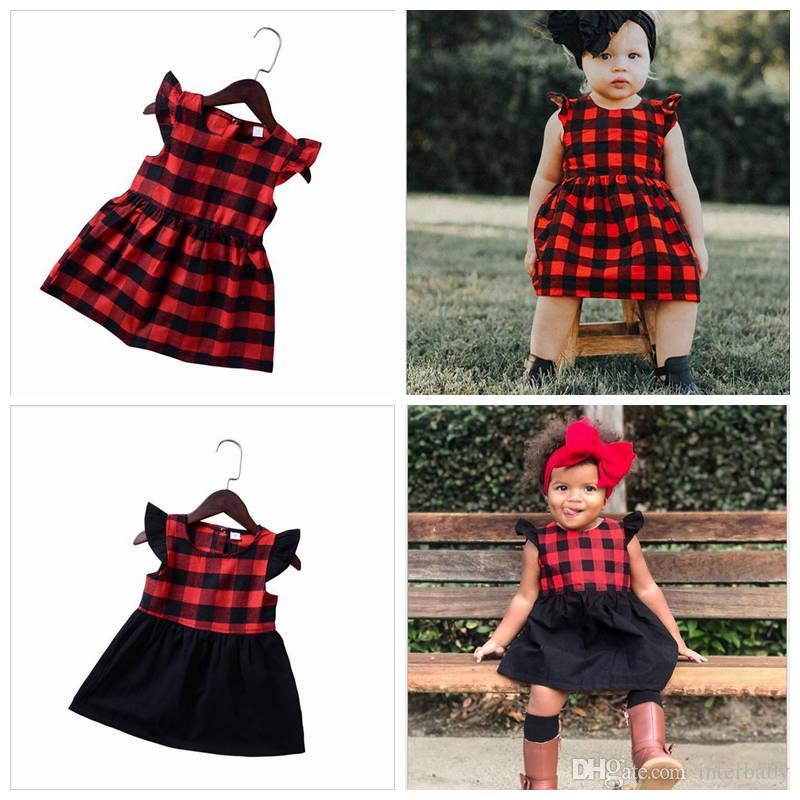 b838c02094 Compre Navidad Para Bebés Niña Ropa Niñas Vestido A Cuadros Rojo Vestidos De  Princesa Niños Manga Corta Vestido Informal De Moda Vestido De Boutique De  ...