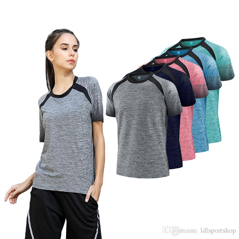 0a5e8a03e 2019 Gym Women Outdoor Sport T Shirts Quick Dry Running Short Sleeve Fitness  Top Womens Clothes Tees Tops Sportswear Training T Shirt From Ldlsportshop,  ...