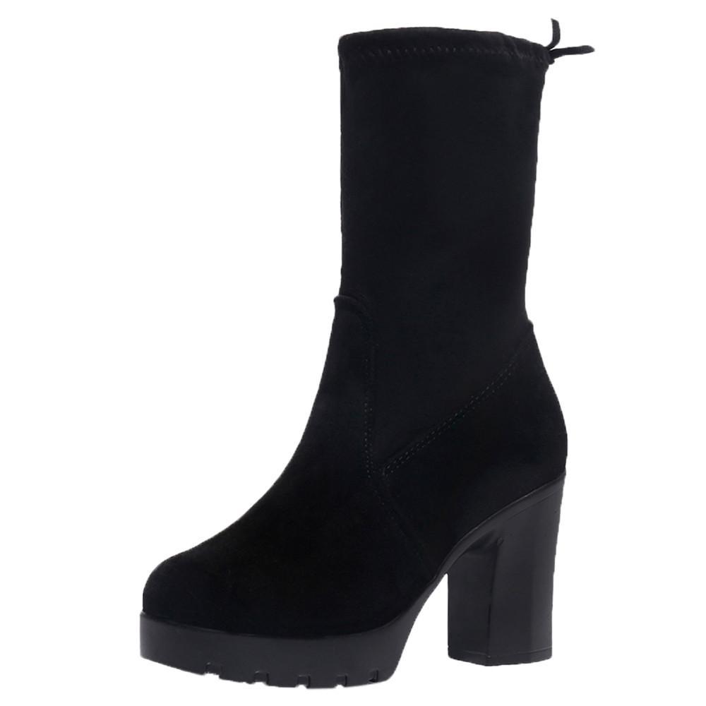 501bef303 Compre 2018 Outono E Inverno Mulheres Mid Botas Grossas Com Salto Alto  Preto Moda Feminina Botas Barato Plus Size Sapatos Para As Mulheres De  Fivestage