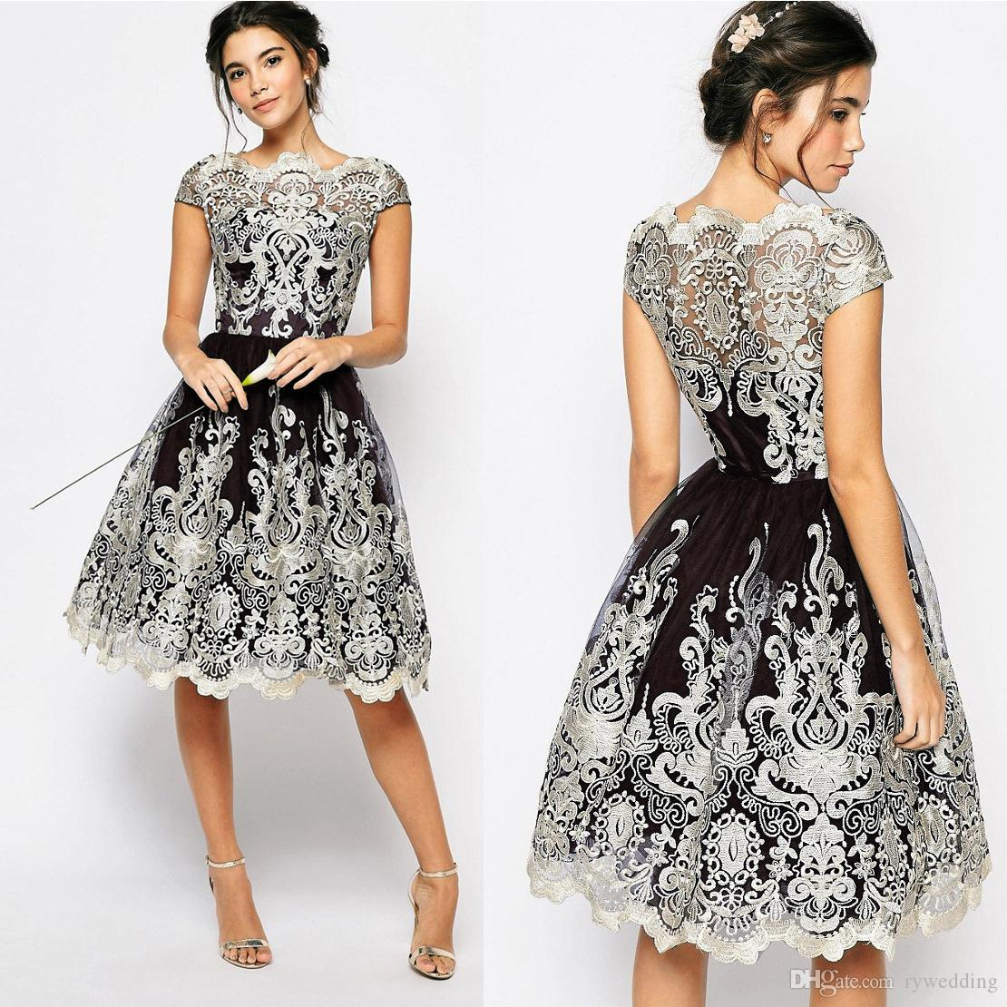 vintage Bateau Lace Dresses mesh Embroidered ball gown beautiful bridesmaid dresses Special Occasion Dresses A-Line knee Length party skirt