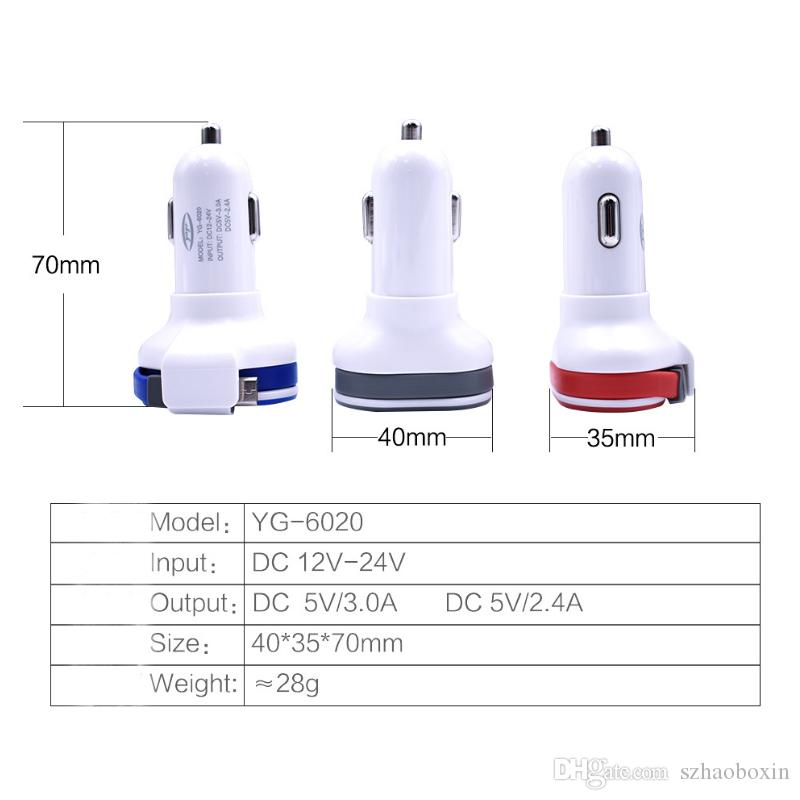 Universal 5V 3.1A Mini Adapter Dual USB Car Charger with cable with detail boxes For iPad for iPhone