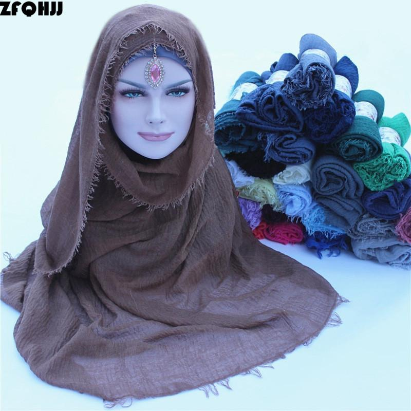 Acheter ZFQHJJ 180x100cm Femmes Coton Bulle Plaine Ride Turquie Turc Hijab  Écharpe Musulman Turban Plissée Solide Foulards Foulards Hijabs De  20.67  Du ... dd33cc03932