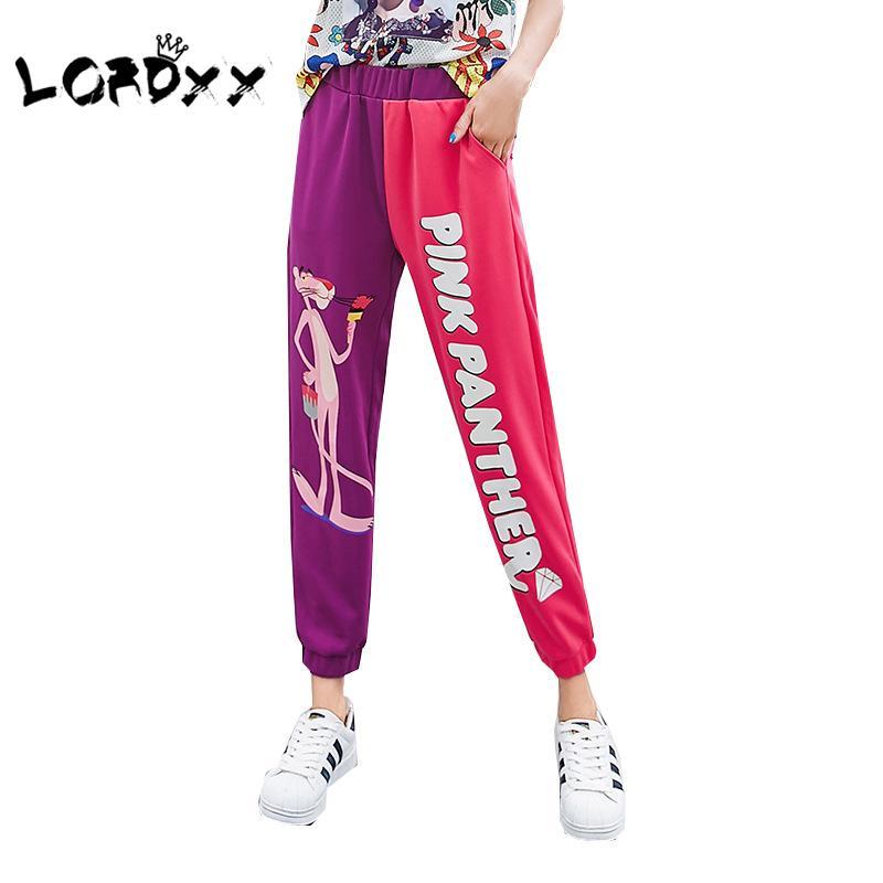 Compre LORDXX Cintura Elástica Hip Hop Harem Pantalones Mujeres Tobillera  Pantera Rosa Suelta Joggers Mujeres Casual Cintura Alta 2018 Coreano A   31.48 Del ... 78b7768094e