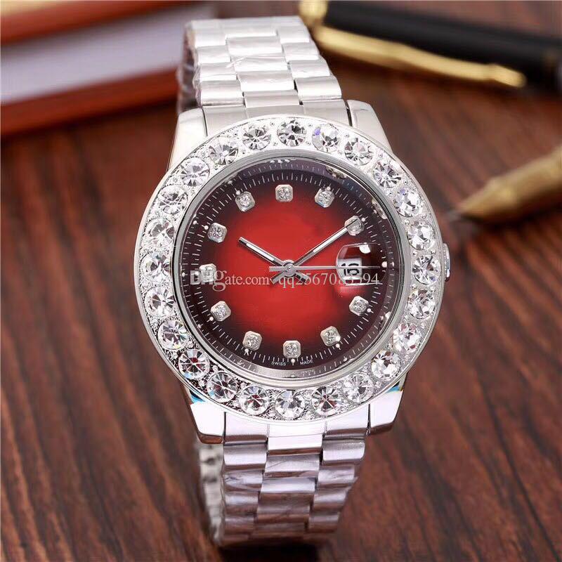 5c4dcb15dcc Compre 2018 Relogio Hombres De La Marca De Lujo Para Hombre Relojes  Diamantes Grandes Día Fecha Marca Acero Inoxidable Presidente Perpetuo Reloj  De Pulsera ...