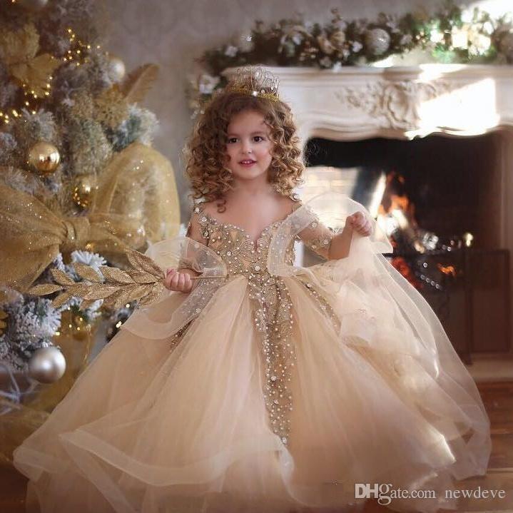 2020 Vestidos Pageant aniversário Champagne vestido de baile Flor Meninas vestidos longos mangas do laço das pérolas apliques Princesa Puffy Crianças