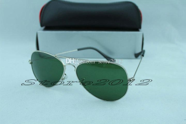 Hot sell Men women Sunglasses 100% Glass Lens Sun glasses Metal Frame High Quality Pilot Vintage Two Size Mirror Protect With Cases Box Tag
