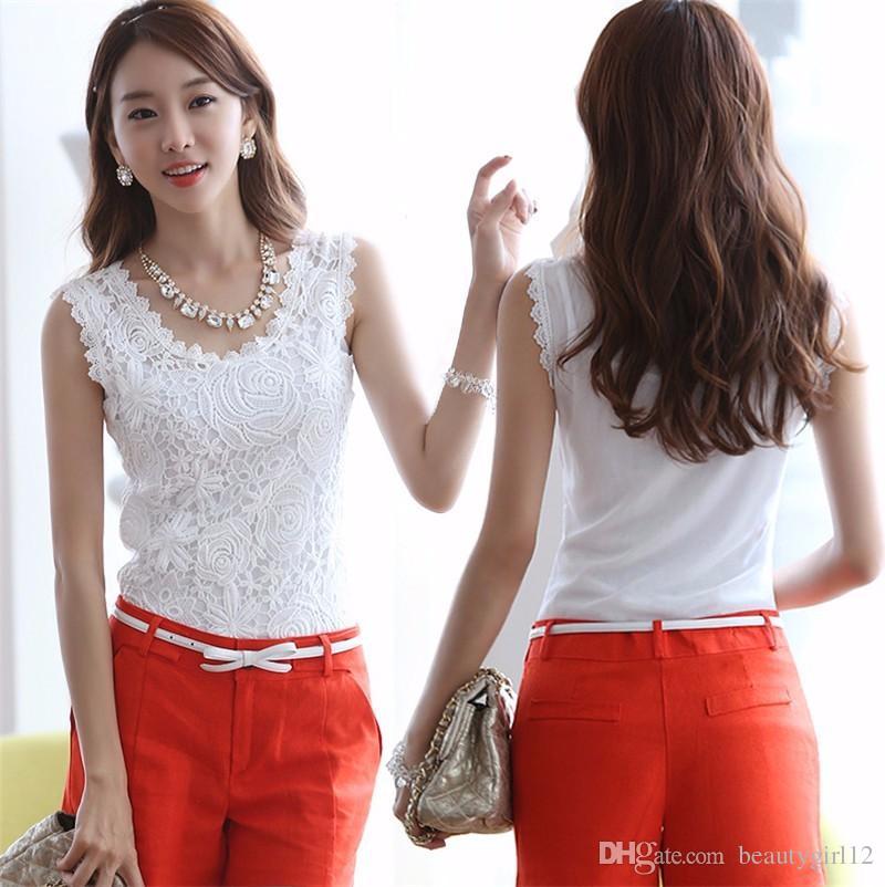 Yeni Moda Kadınlar Beyaz Dantel Bluz O-Boyun Kolsuz Gömlek Blusas Zarif Bluz Gömlek Kadın Yaz Üstleri Artı Boyutu S-XXXL