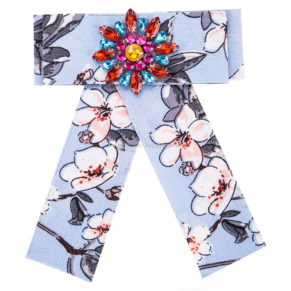 Bohe Acrylic Pin Brooch Flower Jewelry Gift Ethnic Fashion Promotion Cloth Art Color Crystal Bow Brooches for Women Clothing Accessories