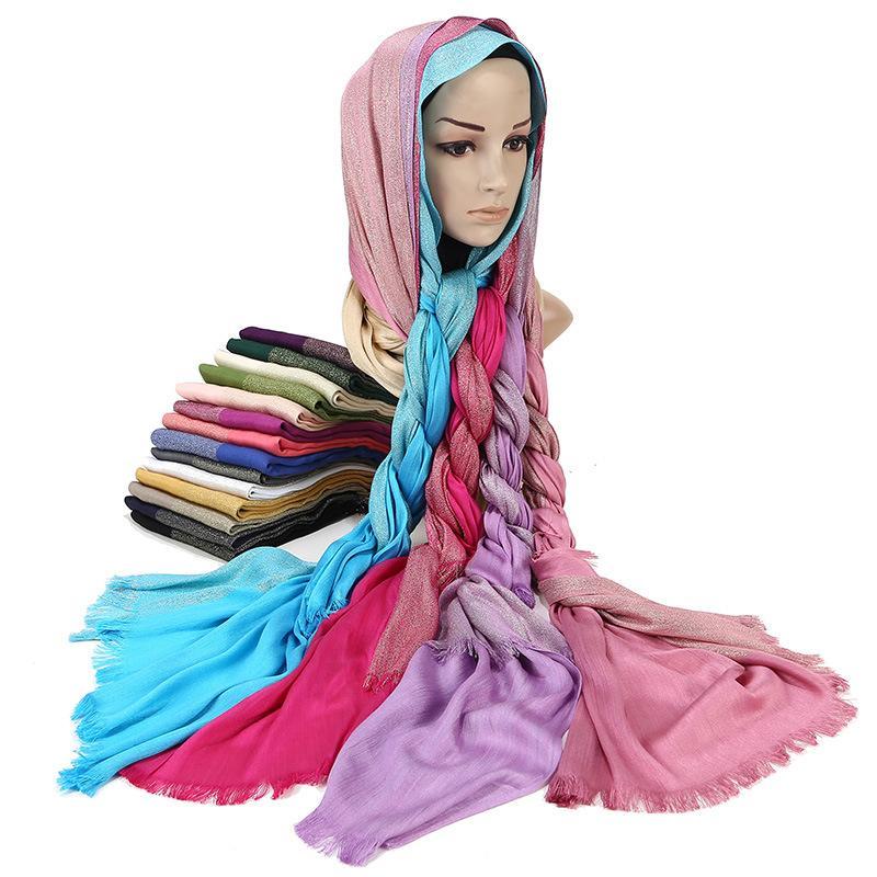 Acheter Femmes Or Brillant Fil Musulman Écharpe À Franges Plaine Solide  Châle Tudung Tête Foulards Islamique Arabe Turquie Hijab Écharpes 26  Couleurs De ... 6f083faf307