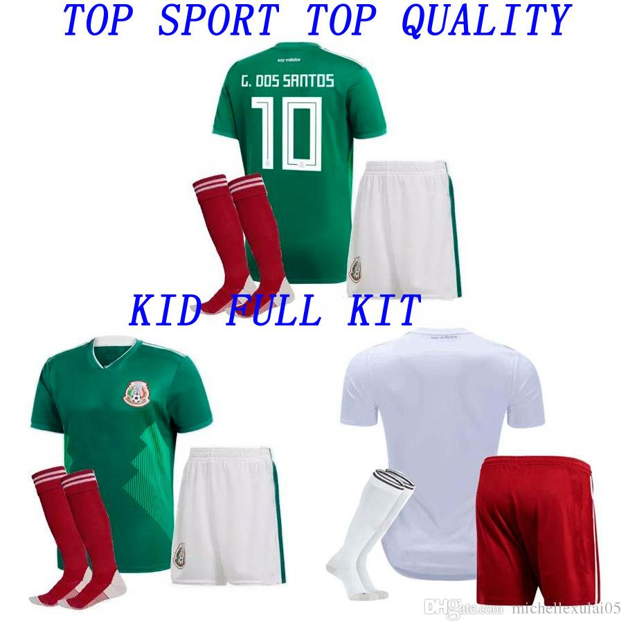 2018 Kids Mexico Home Away Shorts Jersey de fútbol Calcetines Niños Thai Quality Football Juegos completos 18 19 G DOS SANTOS CHICHARITO Boys Soccer